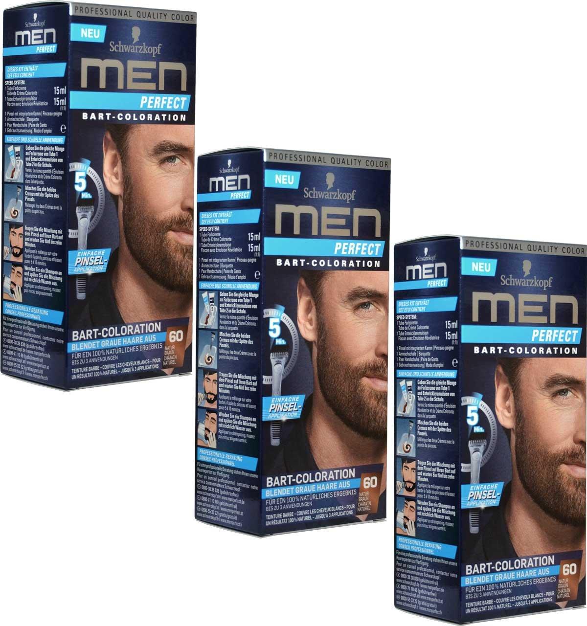 3x Schwarzkopf MEN PERFECT Bart-Coloration, 60 Natur Braun Schwarzkopf & Henkel