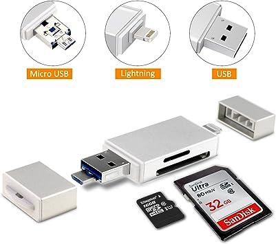 Philo Next Lector Tarjetas de Memoria, 3 en 1 SD/Micro SD Tarjeta Lector Lightning, USB and Micro USB Interfaces for ...