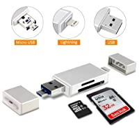 Philonext Speicherkartenleser, 3 IN 1 SD / Micro SD Kartenleser Lightning, USB and Micro USB Interfaces for Android Phones/Mac/PC/Notebook/iPhone/iPad und Micro USB OTG auf USB Adapter mit Standard USB Stecker Micro USB Stecker für PC und Notebooks Smartphones / Tablets mit OTG Funktion (Silver)
