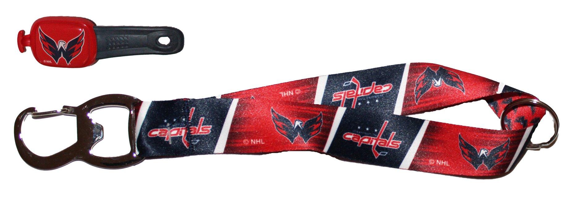 WinCraft Bundle 2 Items: NHL Washington Capitals 1 Bottle Opener Key Strap and 1 Stwrap Bag Id Tag