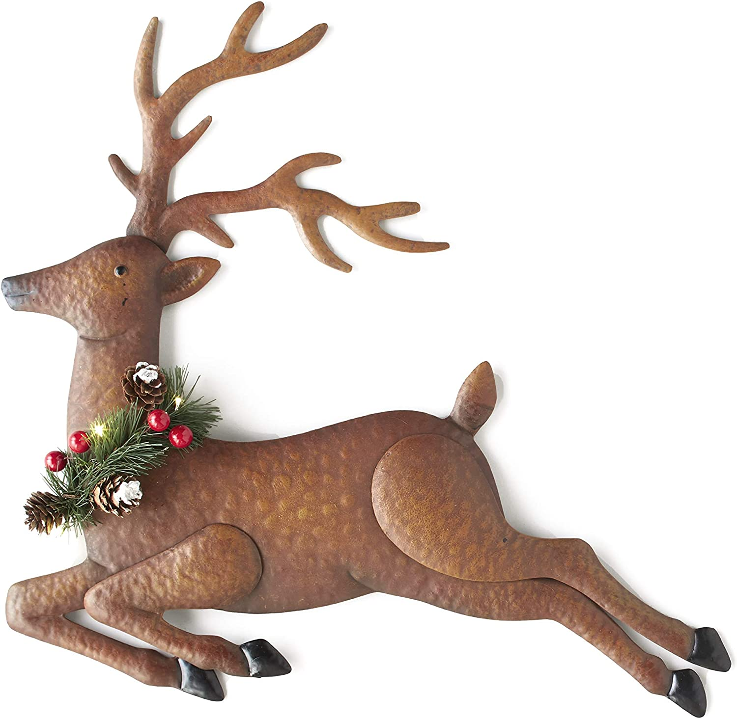 The Lakeside Collection Lighted Metal Wall Hanging Reindeer Christmas Decoration - Hallway Accent