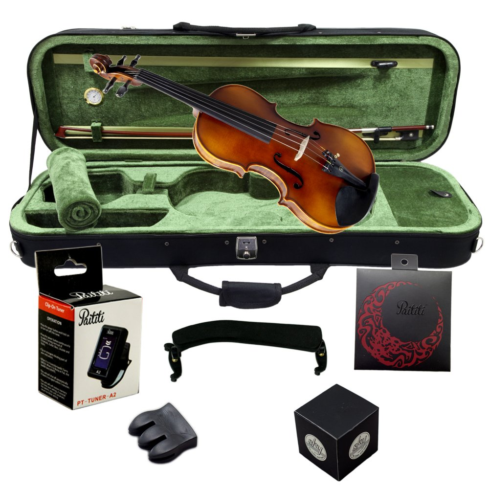 Paititi 4/4 Full Size PTVNHY100 Premium Hand Carved Ebony Fitted Violin Outfit with Case, Bow, String, Tuner, Mute and Rosin