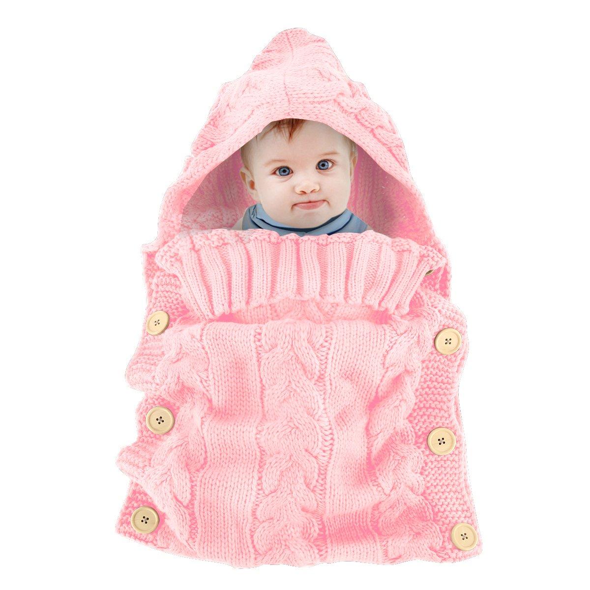 Colorful Newborn Baby Wrap Swaddle Blanket, Oenbopo Baby Kids Toddler Knit Blanket Swaddle Sleeping Bag Sack Sleep Bag Stroller Wrap for 0-12 Month Baby (Pink)