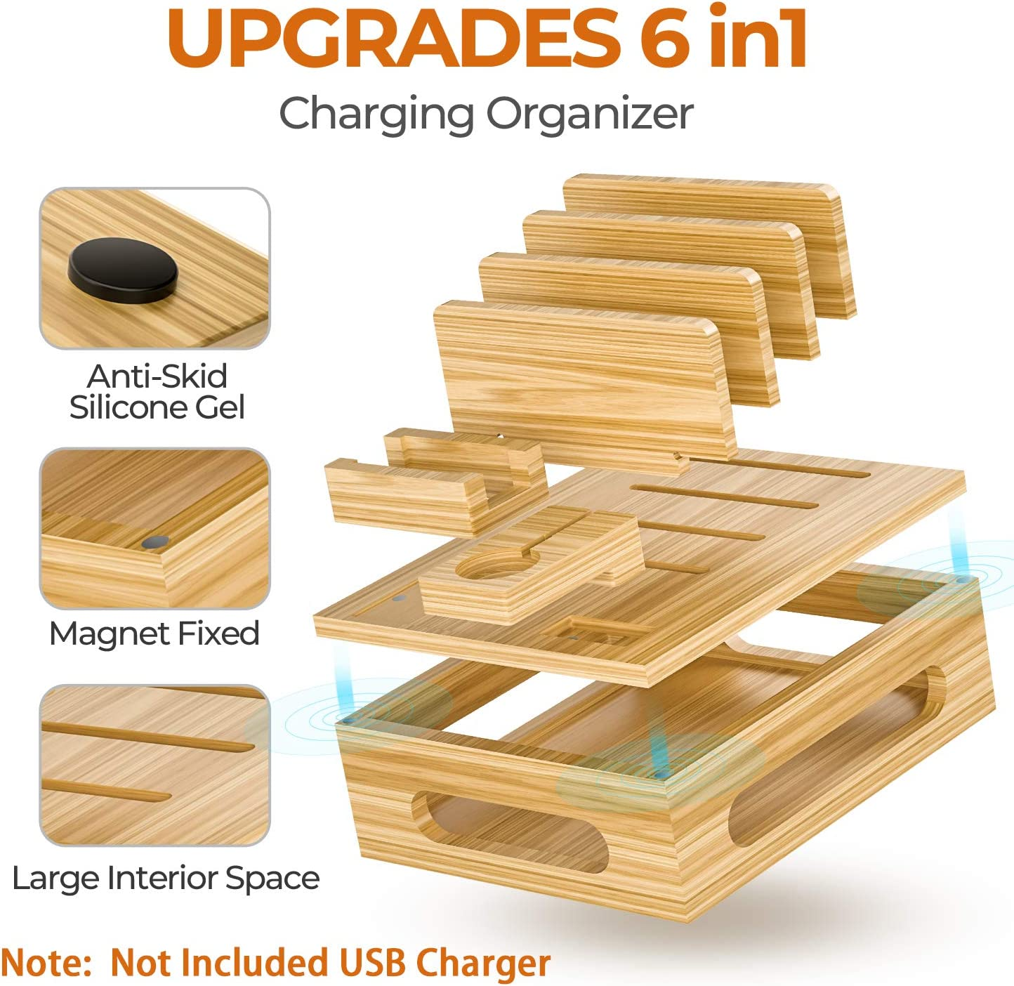 Alltripal Charging Station for Multiple Devices Bamboo Charging Organizer for USB Charger Docking Station with 5 USB Cables Note No Power Supply