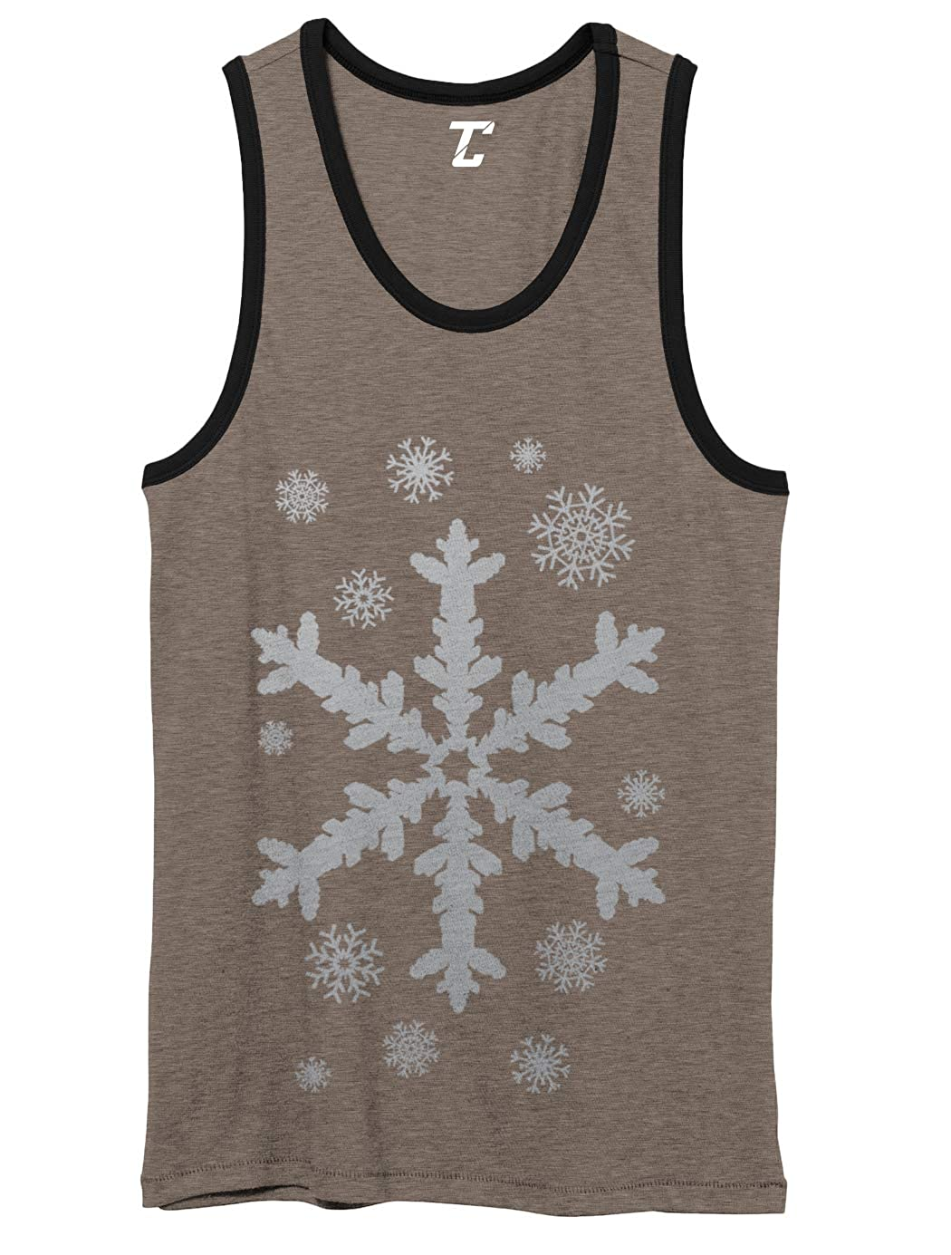 Xmas Christmas Unisex 2-Tone Tank Top Silver Snowflakes