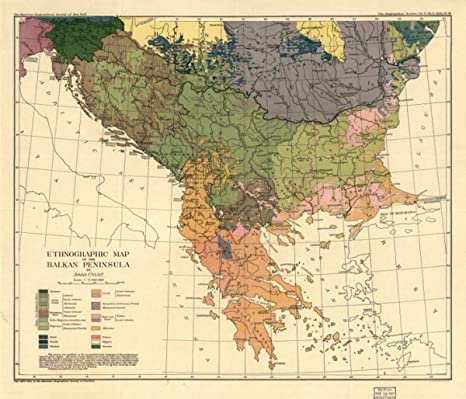 Amazon.com: c1918 map: Balkan Peninsula Ethnographic of the Balkan ...
