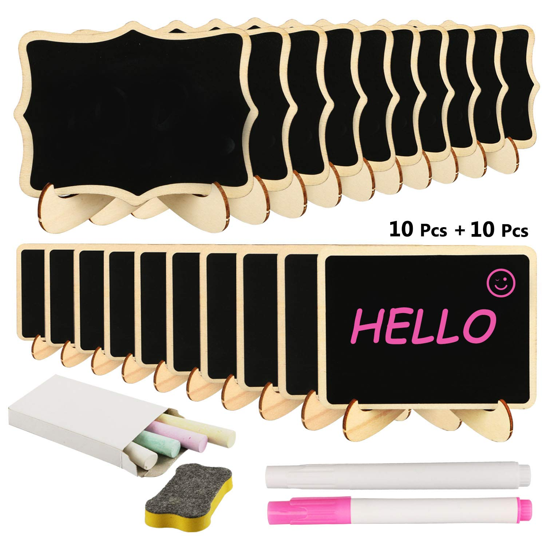 Mini pizarra, RATEL 20 Pack pizarra pequeña de madera,Rectángulo pequeño lugar tarjetas con soporte de caballete,Los carteles decorativos para ...