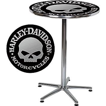 Harley Davidson Bar Table With Skull Design   Black