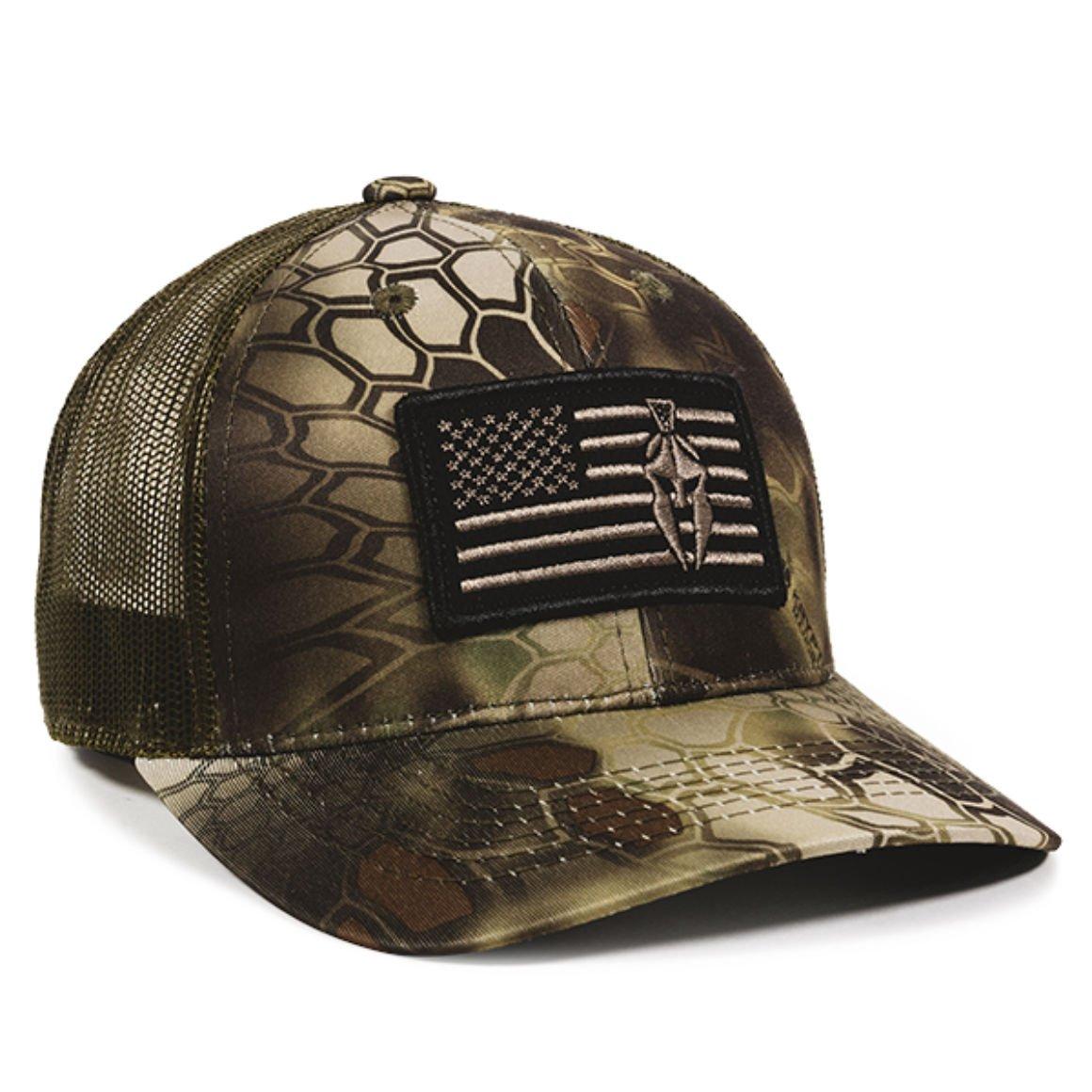 Kryptek Mandrake USA Flag Patch Mesh Back Fishing, Hunting, Military Cap