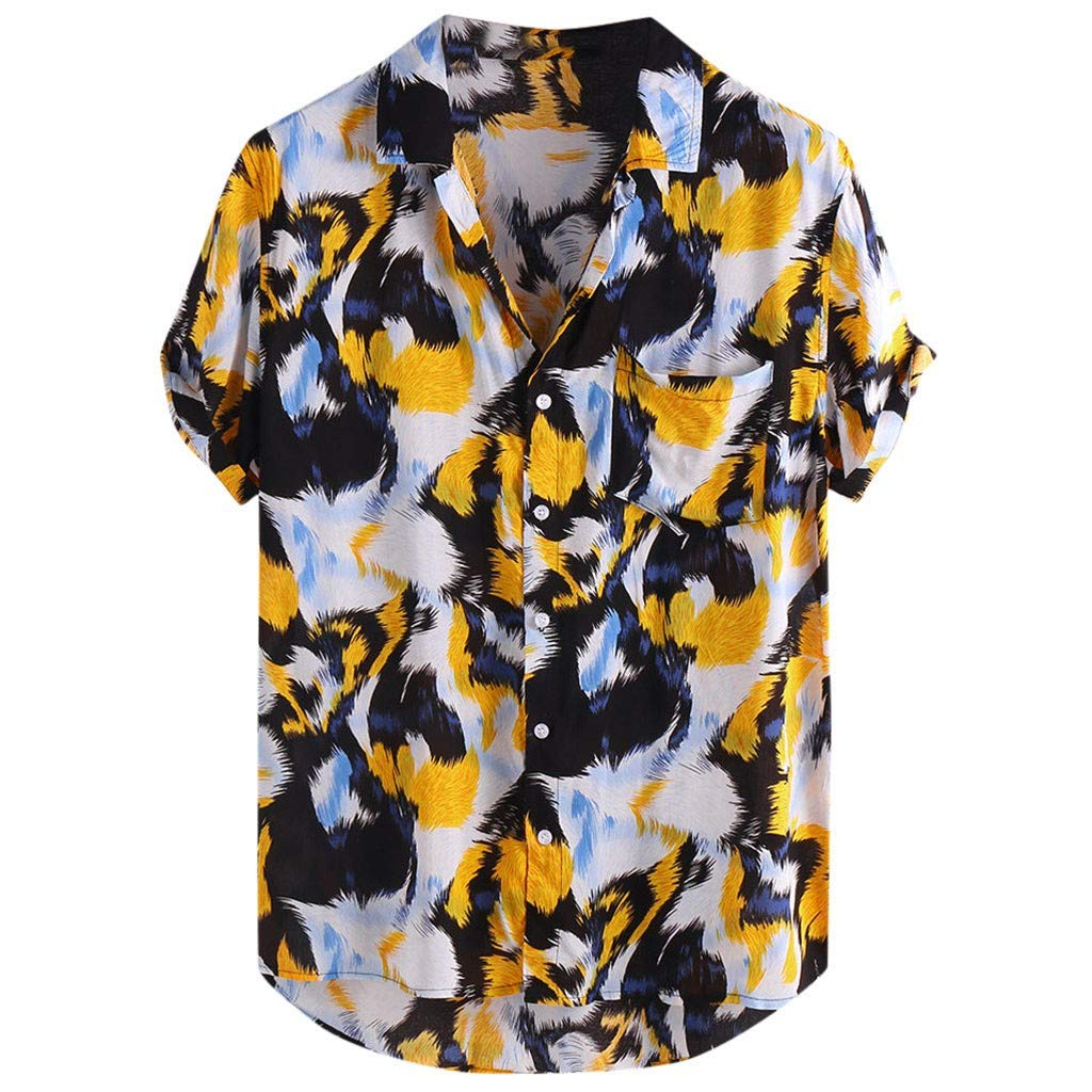 Eoeth Mens Printed Chest Pocket Turn Down Collar Short Sleeve Casual Loose Shirt Lightweight Quick-Dry Simple T-Shirt Yellow