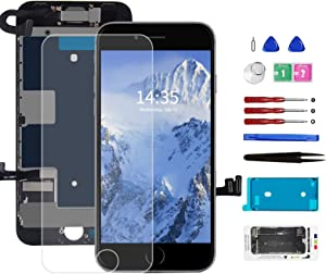 for iPhone 8/SE 2020 Screen Replacement Full Assembly LCD and 3D Touch Screen Digitizer Replacement Frame with Front Camera+Ear Speaker+Sensors+Waterproof Seal+Screen Protector Repair Tools Kit Black