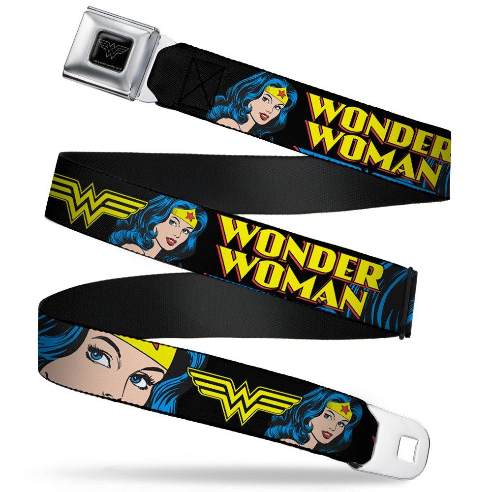 Buckle-Down Seatbelt Belt - WONDER WOMAN w/Face C/U Black - 1.5