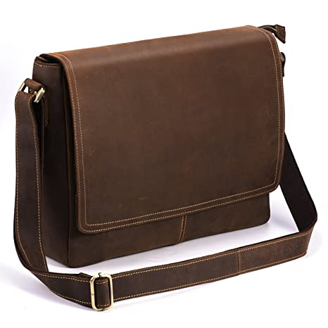 details for factory outlets cheap prices Kattee Leather Business Briefcase Retro Shoulder Laptop Bag ...
