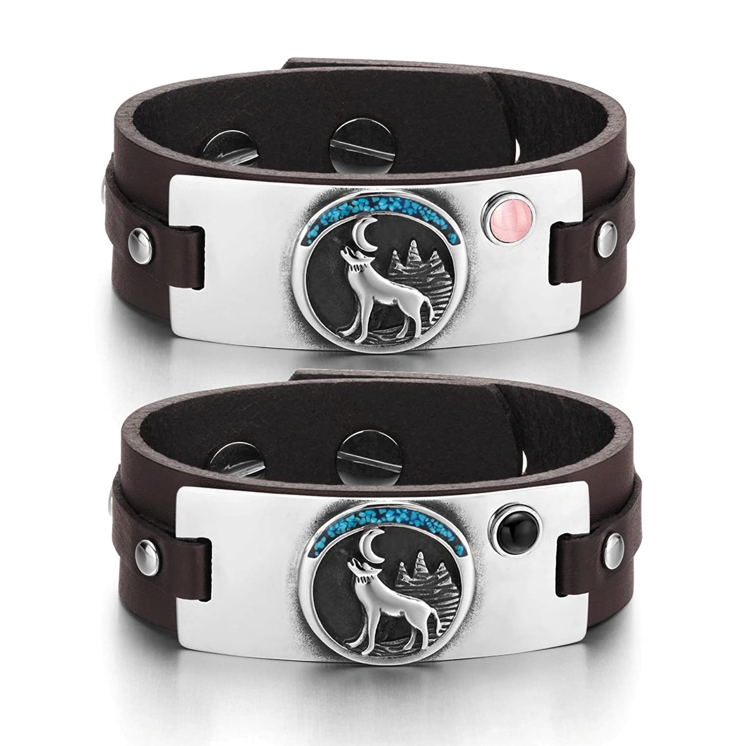 Wild Spirit Moon Howling Wolf Love Couples Pink Simulated Cats Eye Simulated Onyx Brown Leather Bracelets