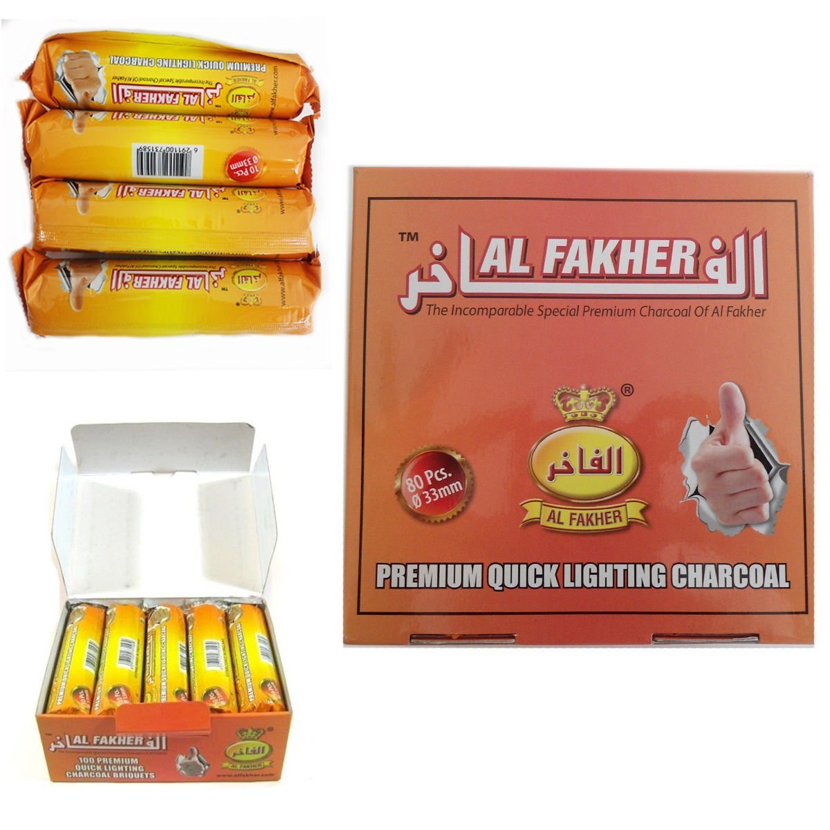 80 Dics Charcoal AL-FAKHER Quick Lighting Shisha Hookah 8 Roll Coal Disc Briquet Box