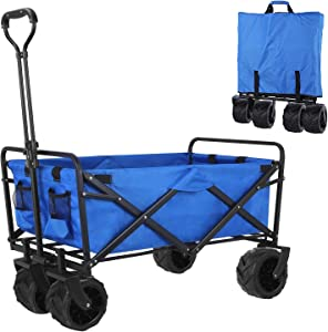 Folding Collapsible Outdoor Utility Wagon Cart, Heavy Duty Garden Cart with All-Terrain Wheels and Carrying Bag for Shopping, Beach, Yard (Blue)