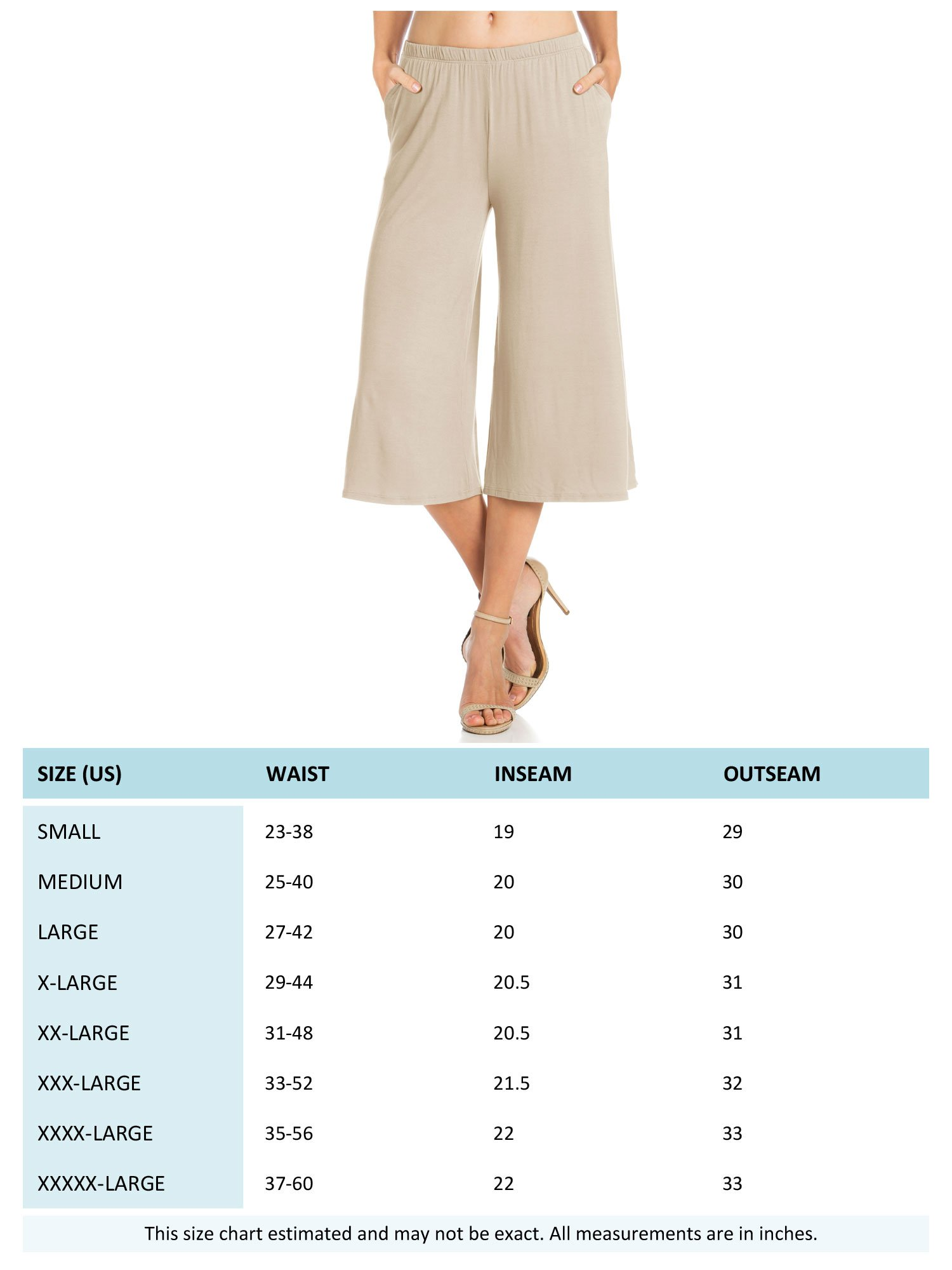 Fashion California Womens 1 Pack Elastic Waist Jersey Culottes Capri Pocket Pants (XXXXX-Large, Aqua) by Fashion California (Image #6)