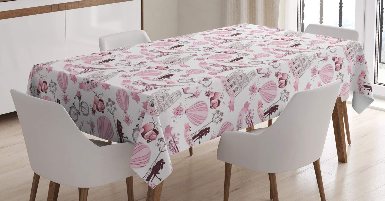 Amazon Com Ambesonne Paris Tablecloth Valentines Day Theme