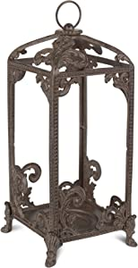 GG Tall Metal Lantern Home Decor, 7.25InL x 7.25InW x 17InH, Brown