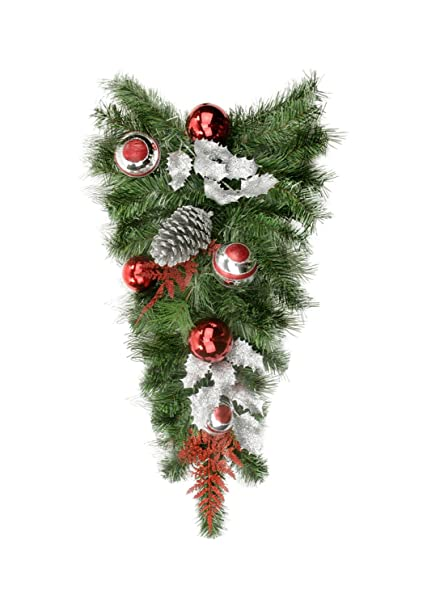 24 Pre-Decorated Red and Silver Holly, Ball and Pine Cone Artificial Christmas Teardrop Swag - Unlit
