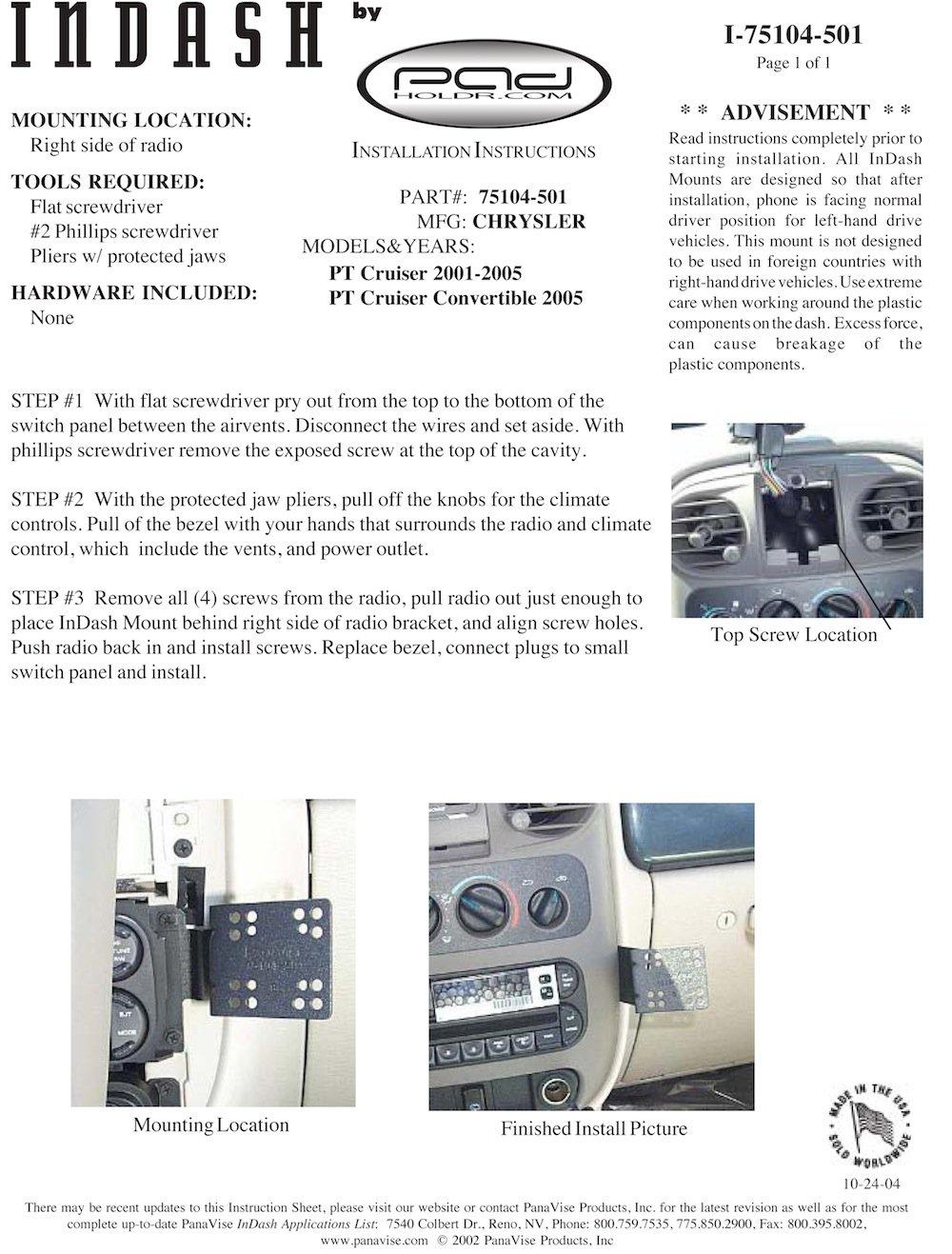 Padholdr Docking Series Economy Holder for 2001-2005 Chrysler PT Cruiser Pad Holdr PHD275104-501