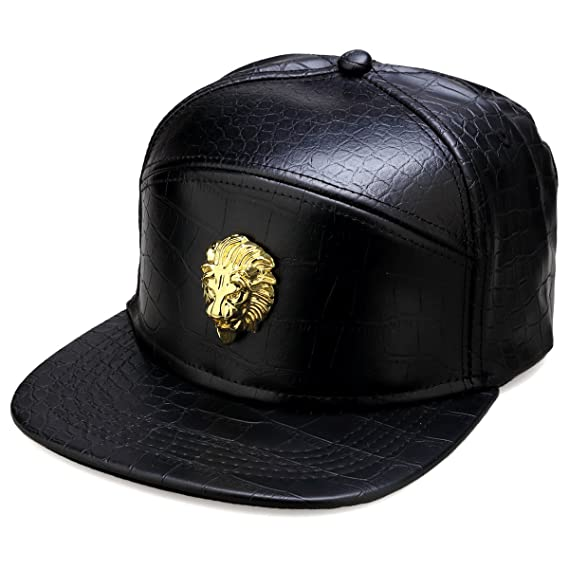 a38133f3fcc MCSAYS Hip Hop Ice Out Lion Head PU snap Leather Sports Caps Baseball Cap   Hat