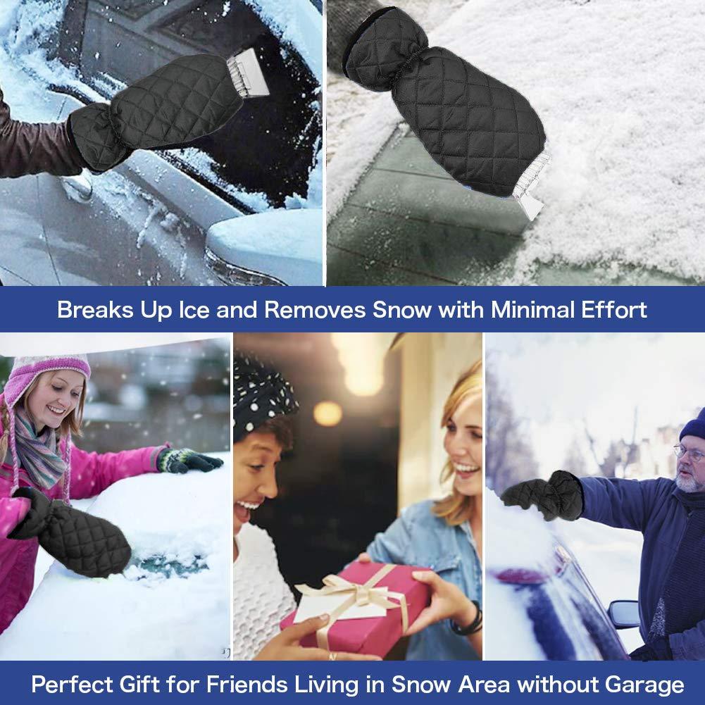 Ice Scraper Mitt for Car Windshield, Window Frost Snow Remover Mitten SUV//Truck Snow Scraper Windshield Scraper Gloves Thick Fleece /& Waterproof Ice Scraper for Car with Brush Mitt