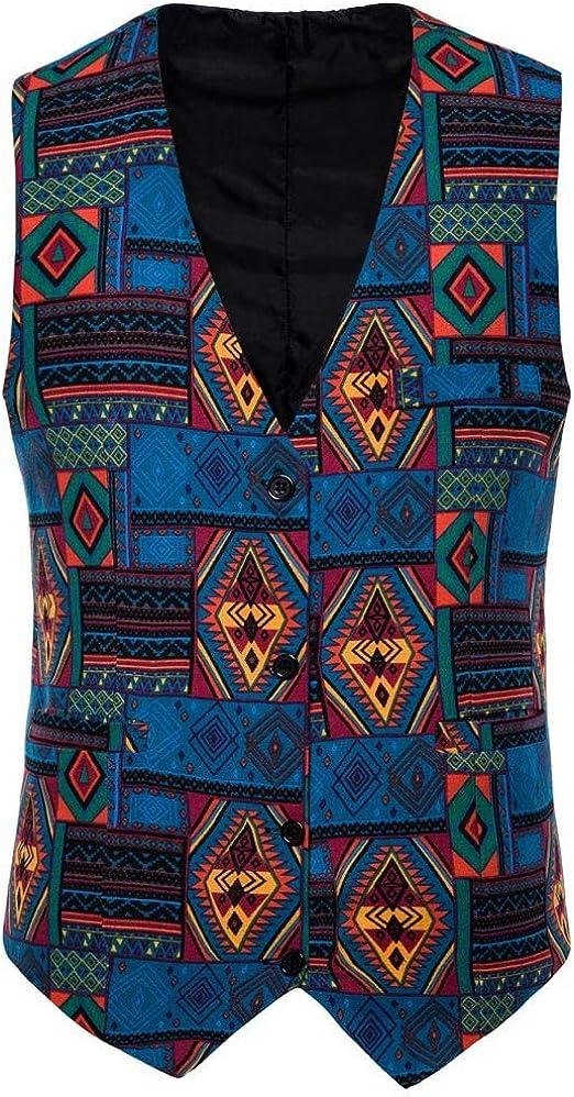 2019 Mens Waistcoat Beautyfine Casual Vintage Printed Ethnic Style Sleeveless Business Slim Button Dress Vest Tops
