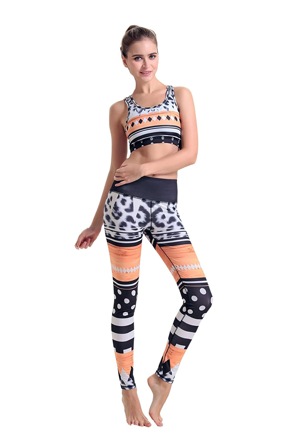 MITIAO Women's Geometry Leopard Pattern Vest Stretch Yoga Running Tights Pants
