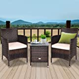 DORTALA 3 PCS Patio Wicker Rattan Furniture Set, Outdoor Rattan Conversation Set with Coffee Table, Chairs & Thick…