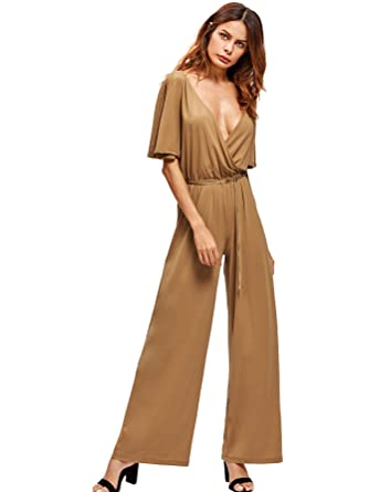 7f38622d465a OEUVRE Womens Sexy V Neck Slit Sleeve Wide Leg Wrap Over Jumpsuit - Beige  -  Amazon.co.uk  Clothing