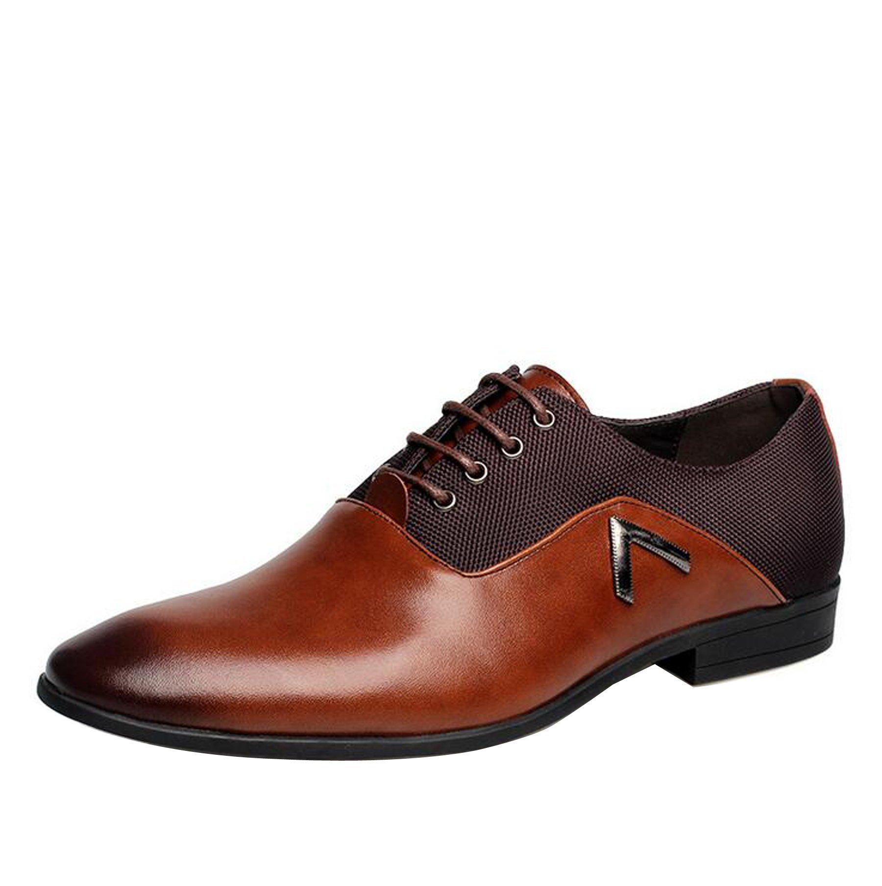 Men Pointed Toe Business Dress Formal Leather Shoes Flat Oxfords Loafers Slip On by Gaorui