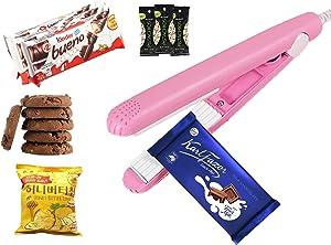 Mini Bag Sealer Heat Seal Handheld, Food Sealer Bag Resealer for Food Storage, Portable Smart Heat Sealer Machine with 43.1 inch Power Cable for Chip Bags, Plastic Bags, Snack Bags (Pink)