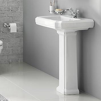 traditionnel de salle de bain et lavabo Colonne Blanc évier: iBathUK ...