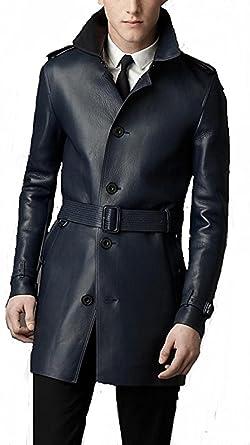 Number 7 Manteau de Cuir Homme Veste en cuirTrench Homme