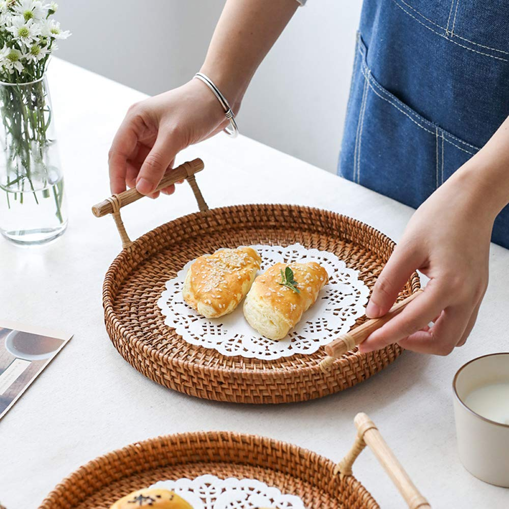 FREELOVE Manual Rattan Bread Basket/Fruit Tray, Round (8.6 in. + 9.4 in.) by FREELOVE (Image #5)