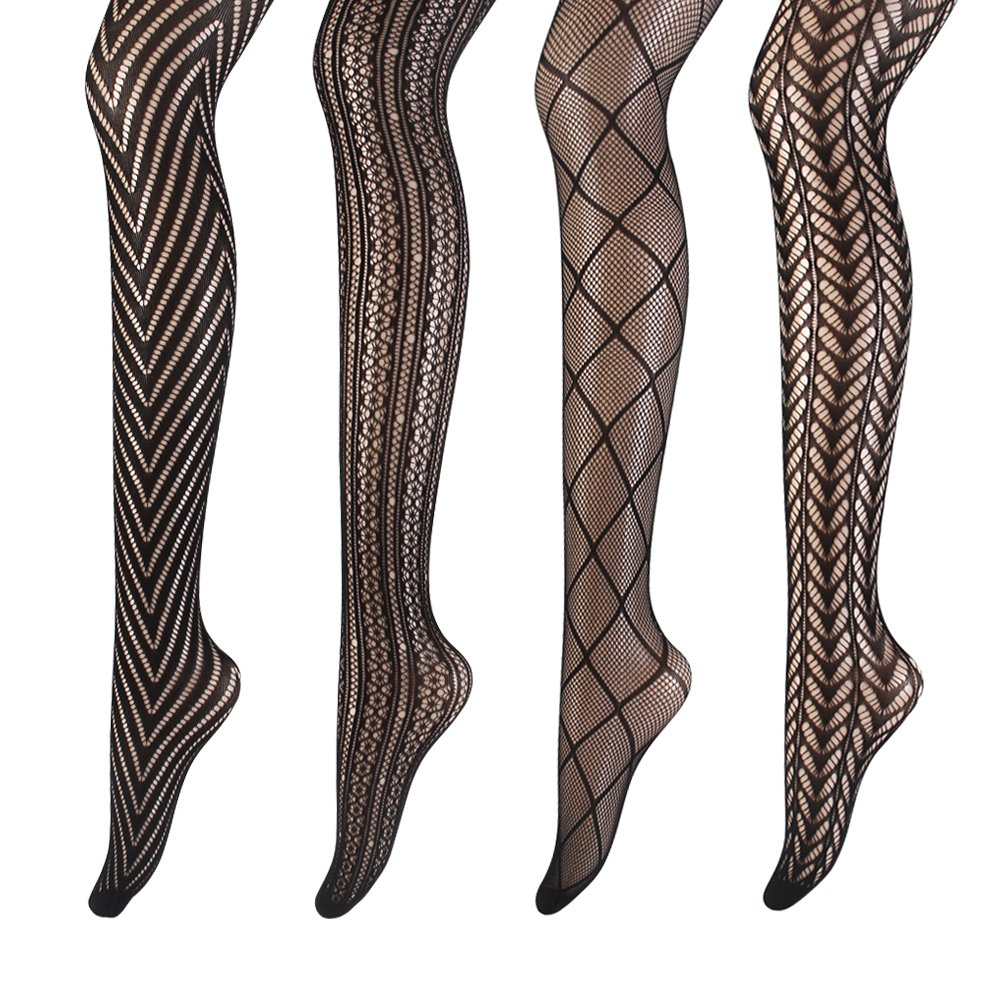 Women's Hollow Out Fishnet Pantyhose Tights Lace Stocking 4 Pairs Extended Sizes(Assorted 1)