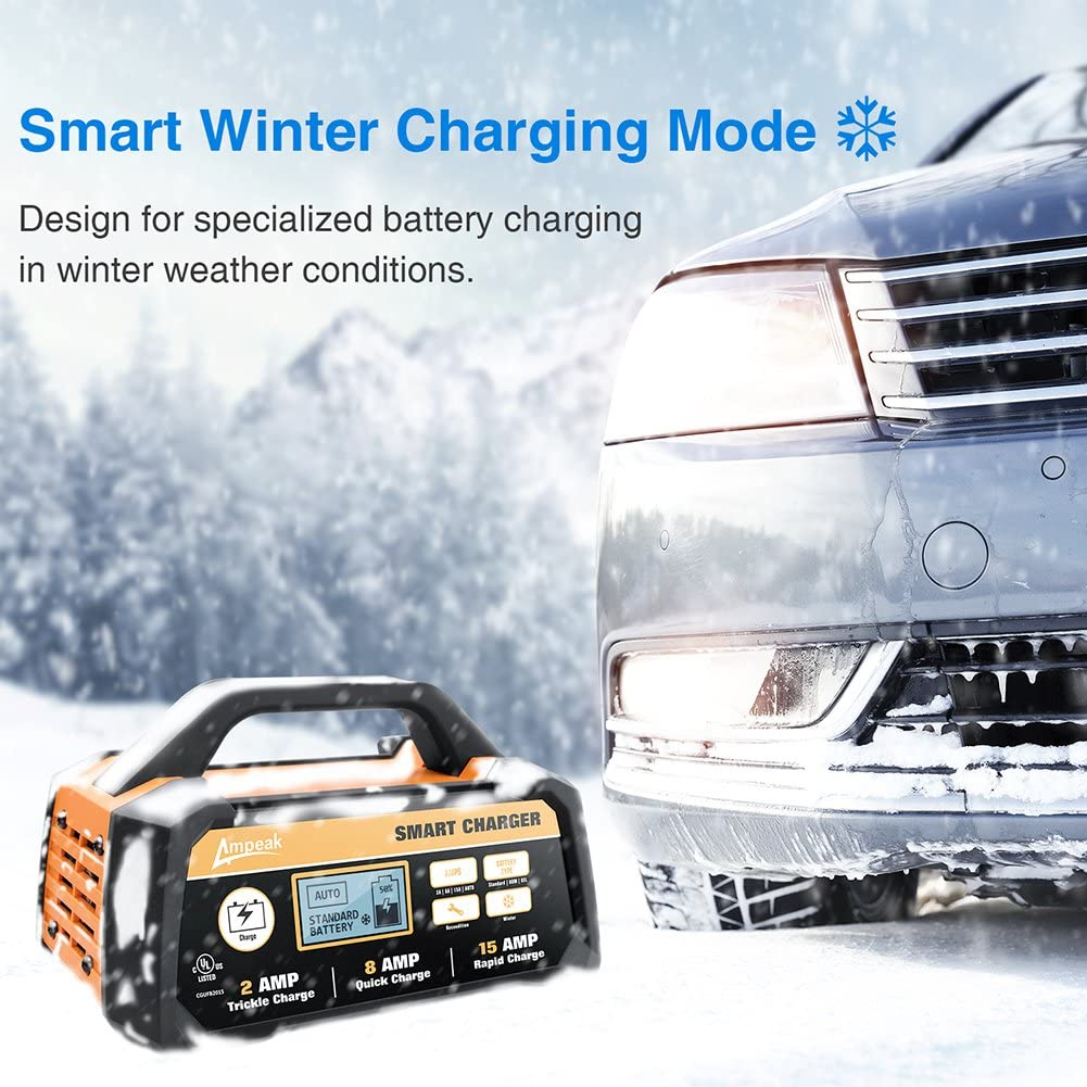 Ampeak 2/8/15A 12V Smart Battery Charger/Maintainer Automatic with Winter Mode: Automotive