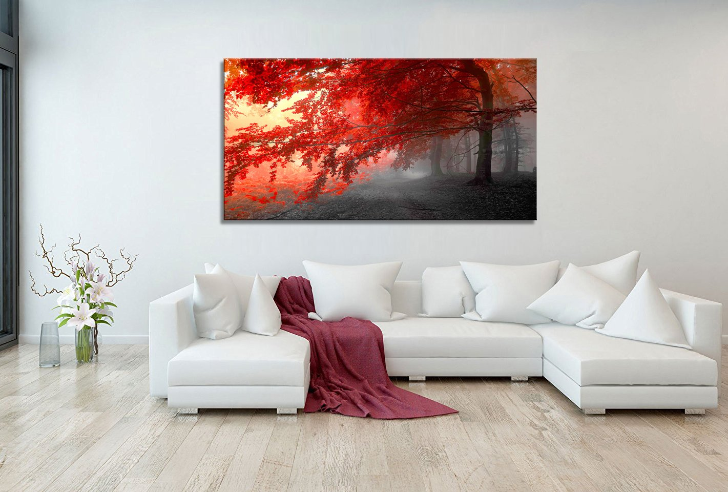 wall art Stretched Framed Ready Hang Flower Landscape Red Tree ...