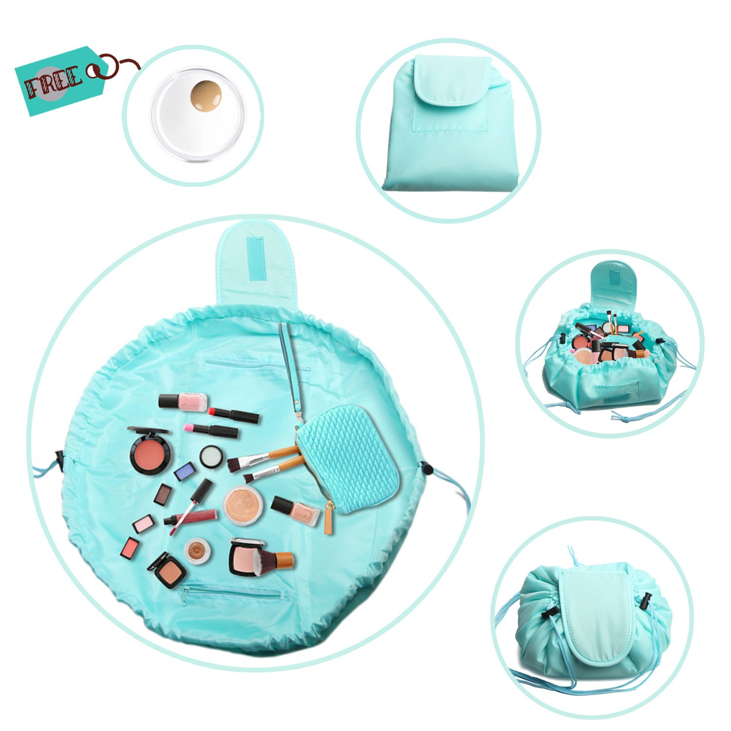 Portable Quick Drawstring Cosmetic Bag Large Capacity Lazy Travel Makeup Pouch Toiletry Bag with Silicone Makeup Blender for Womens Girls