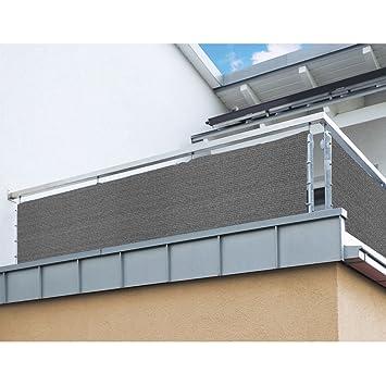Balkon Sichtschutz Nach Mass In Grau Meterware Langlebiges UV Bestandiges HDPE Gewebe Mit Metallosen