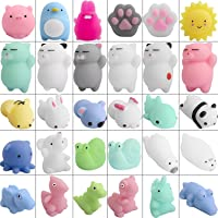 Hicdaw Juguetes Mochi Squishys, 30 Piezas Mini Squishys Animals Toys Mochi Cat Squishys Stress Relief Mochi Animal con Bolsa de Fieltro