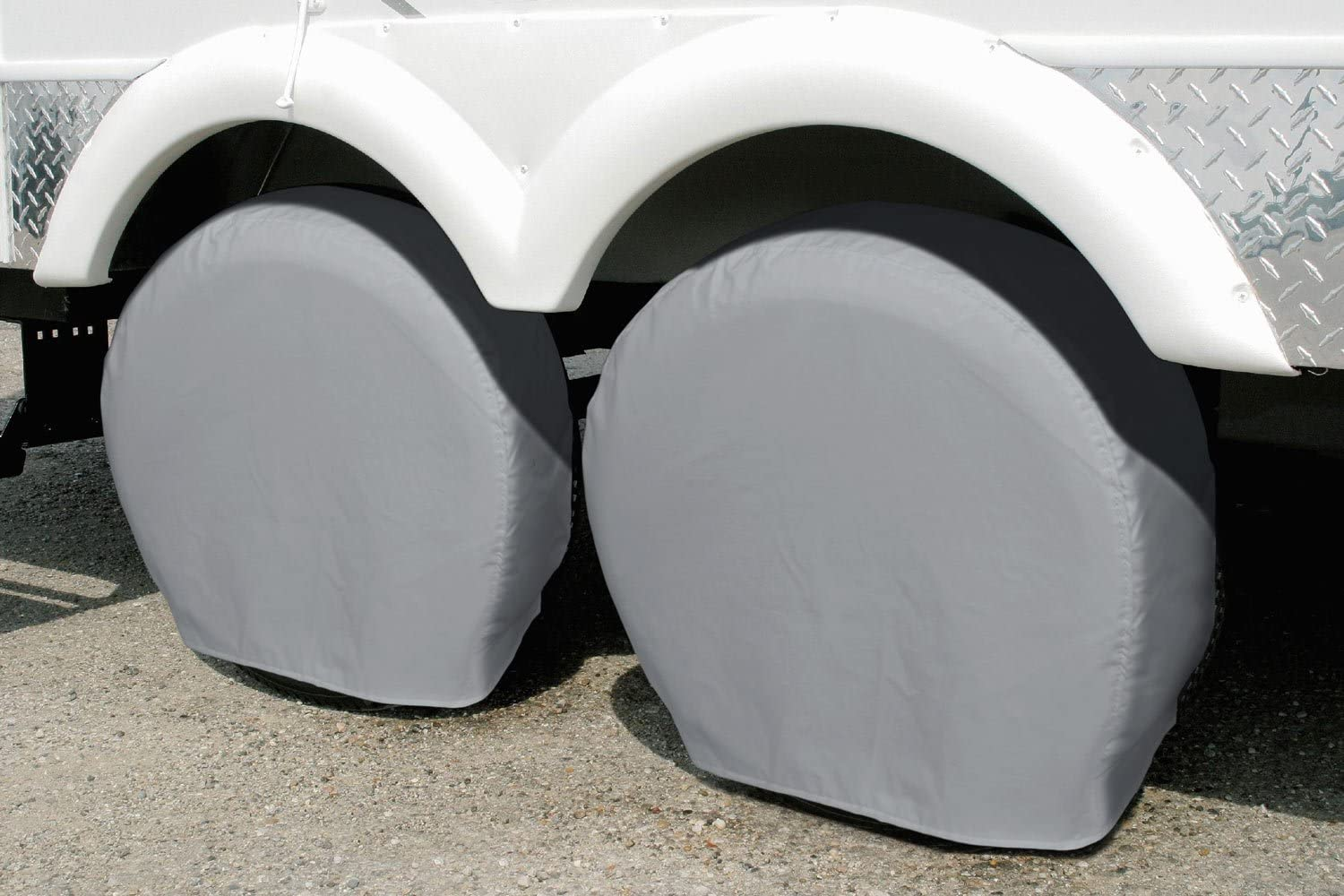 RV White SUV Explore Land Tire Covers 4 Pack Camper Trailer Tough Tire Wheel Protector for Truck Universal Fits Tire Diameters 23-25.75 inches