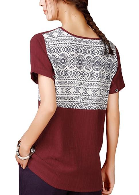 6e53db39f63 ASHER FASHION Women's Blouse Casual T-Shirt Short Sleeve Linen Cotton Tunic  Tops Tees at Amazon Women's Clothing store: