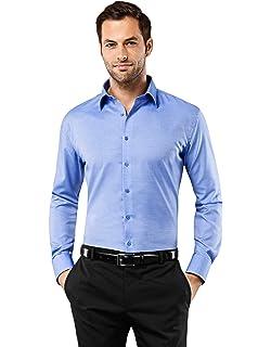 Vincenzo Boretti Herren-Hemd b/ügelfrei 100/% Baumwolle kurz-arm Slim-fit tailliert Uni-Farben M/änner Hemden f/ür Anzug Krawatte Business oder Freizeit