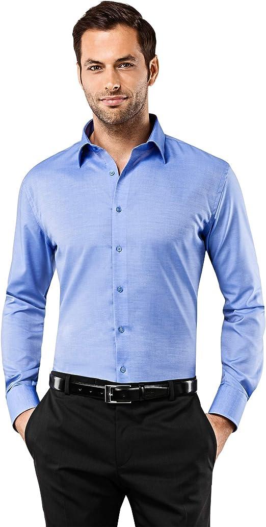 Vincenzo Boretti Herren Hemd bügelfrei 100% Baumwolle Slim