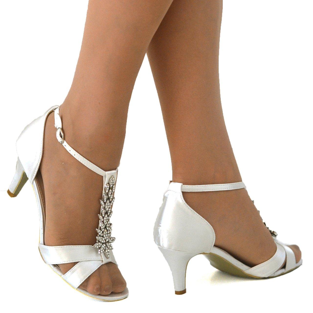 d2a558114d2d97 Absolutely Gorgeous Boutique Ladies Satin Wedding Bridal Evening Party  Diamante Mid Heel T Bar Shoes Sandals