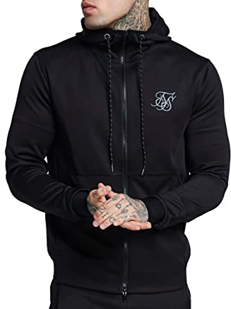 SIK SILK Agility Zip Through Hoodie Black-XS at Amazon Mens Clothing store: