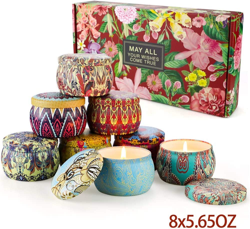 Scented Candles Gifts Sets,Aromatherapy Candles for Home Meditation Large Size 100% Soy Wax,Christmas Gifts Set for Women-4.4 OZ8Pack: Home Improvement