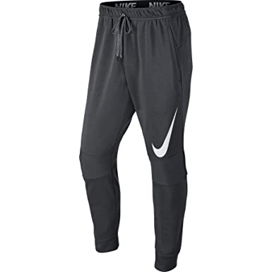 Nike Mens Dri-Fit Cuffed Training Sweatpants Dark Grey/White 728345-091 Size